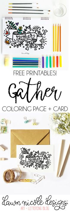 Gather: Free Coloring Page + Card. Plus, a free Digi-Stamp option too! | DawnNicoleDesigns.com