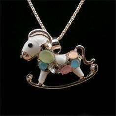Innocence Small Horse and Owl Crystal Sweater Chain Cute Long Necklace