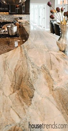Granite countertops mimics flowing water