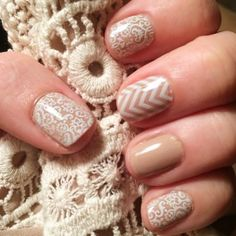 White Romance and White Chevron nail wraps over Barely There Lacquer - luv this mani!  fall, lace, jamberry nails, beige, nude, wedding, bride, bridal  laurenrose.jamberry.com www.facebook.com/groups/LaurenRoseJams/