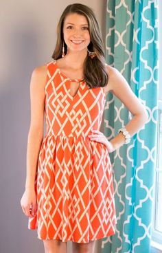 Everly DR3863TOMIVO Tomato Lattice Sundress is a stunning Spring and Summer style.  Affordable yet expensive looking is what we are all about, and you get the quality to boot with this dress! The tailoring is super flattering.