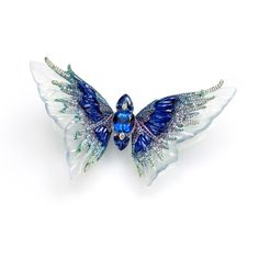 Wallace Chan Whimsical blue brooch from the Fluttery series is carved from icy jadeite and features three tanzanites set with diamonds, lapis lazuli and sapphire.