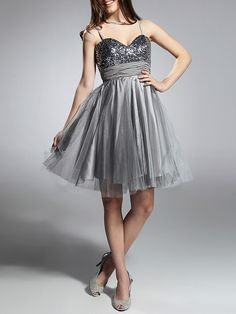 Cocktail Party/Prom/Sweet 16/Holiday Dress - Silver Plus Sizes A-line/Princess Sweetheart/Spaghetti Straps Knee-length - USD $39.99
