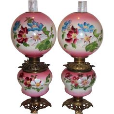 RARE PAIR of Gone with the Wind Oil Lamps ~Masterpiece Breathtaking  HAND PAINTED WILD ROSES ~ Outstanding Fancy Ornate Font Spill Ring and Base~ Original Condition ~Original Parts ~ Collector Pieces
