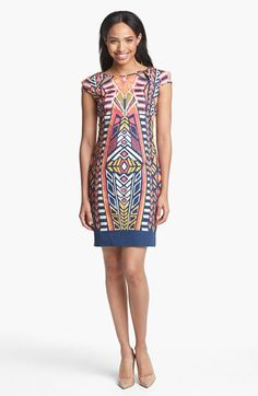 cf00f4420404f4 Adrianna Papell Cutout Detail Print Sheath Dress available at  Nordstrom  Adrianna Papell