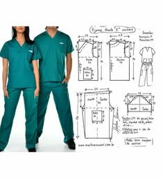 Uniforme Gown Pattern, Pants Pattern, Sewing Pants, Sewing Clothes, Dress Sewing Patterns, Clothing Patterns, Scrubs Pattern, Fashion Design Sketches, Pattern Cutting