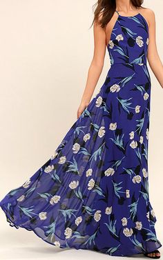All I Need Royal Blue Floral Print Lace Up Maxi Dress via @bestmaxidress