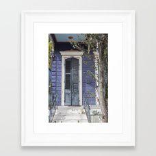 New Orleans Blue Marigny Door Framed Art Print
