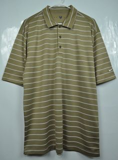 NIKE GOLF Striped Polo Golf Shirt Top Gold Mens size Large L NWOT #NikeGolf #GolfPolo