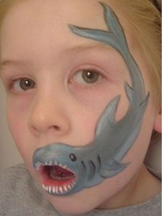 30 Cool Face Painting Ideas For Kids Shark. Cool Face Painting Ideas For Kids, which transform the f Shark Face Painting, Body Painting, Easy Face Painting, The Face, Face And Body, Face Painting Designs, Paint Designs, Cool Face Paint, Child Face