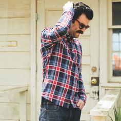 Berry Indian Madras Jack Button Down Shirt by Taylor Shirt