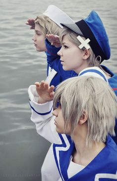 Three Sailors by Lirlys.deviantart.com on @deviantART - Back to front: Arne (head-canon name for Denmark), Sigurd (head-canon name for Norway), and Eiríkur (head-canon name for Iceland). Uploaded by the cosplayer for Sigurd.