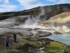 Hiking among steamy mountains in Landmannalaugar