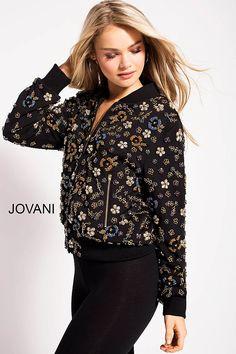 1ab9e93de08 Black Multi Embellished Bomber Jacket by Jovani  M53011  Jovani  Collection  Contemporary Dresses