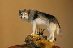 Needle felted Wolf grey wolf totem animal von MinzooNeedleFelting