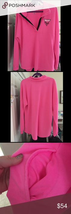 SOLD💕 ~VS~ Hot Pink Hoodie ! Bought this from the Victoria secret store 2 months ago took the tags off! It doesn't have a hood but it has pockets! Super cute! Just too bright for me! NWOT PRICE IS FIRM XO💋 PINK Victoria's Secret Sweaters Crew & Scoop Necks