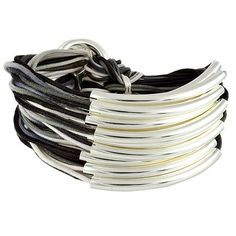 Gillian Julius Mixed Cord Multi Tube Bracelet, Silver   Grey Mix Cord. Multi strand bracelet consisting of 20 waxed cotton cords that fade in and out of the grey scale spectrum. Each cord of bracelet features a silver tube.  $298