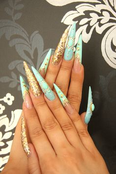 65 New Ideas Nails Long Stiletto Bling Sparkly Nails, Bling Nails, Swag Nails, Perfect Nails, Gorgeous Nails, Dope Nail Designs, Long Stiletto Nails, Edge Nails, Exotic Nails