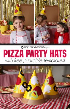 Pizza Party Hats with Free printable templates - Cooking Party Ideas for Kids - Pizza Pizza Party Birthday, Elmo Party, Birthday Party Themes, Diy Party, Mickey Party, Elmo Birthday, Party Ideas, Dinosaur Party, Dinosaur Birthday