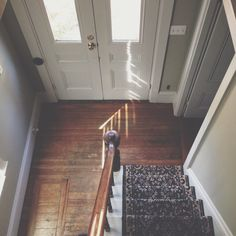 Front door, stairs, wooden floor, hall (Pretty American)