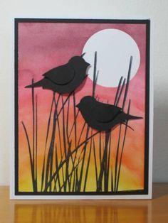 Silhouette Birds...two-step birds on sponged sunset...