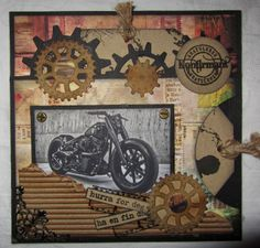 Konfirmasjonskort Heritage Scrapbook Pages, Scrapbook Page Layouts, Masculine Birthday Cards, Masculine Cards, Steampunk Cards, Confirmation Cards, Spellbinders Cards, Interactive Cards, Cogs