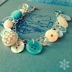 Vintage Button Charm Bracelet  ICE CASTLE  by thelibraryfaerie, $19.99