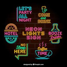Colección impresionante de letreros de luces de neón coloridos