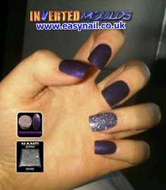 Gorgeous DEEP PURPLE and Silver 'Nano' Glitter Inverted Moulds by Jennifer Glass for her client Beth Cardwell These have a week of growth! IM Nail Training Available from www.easynail.co.uk Find us on facebook: www.facebook.com/enukinvertednailsystems