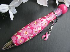 "New Hot Pink Floral Breast Cancer Awareness ""Chubby Style"" Ink Pen w/Logo"