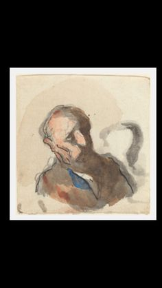 Honoré Daumier - Head of a Man - Watercolor over graphite, pen and black ink and black chalk - 7,9 x 7,6 cm - Washington, NGA