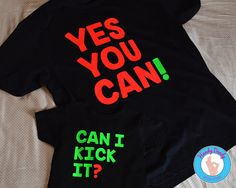 These bright tees are a fun way for you and your favorite little hip hop head to wear and celebrate the classic Tribe Called Quest song, Can I Kick It Our made-to-order shirts feature neon green and neon coral lettering on a black, navy or fluorescent yellow t-shirt. One shirt reads Can I Kick It? and the other reads Yes You Can!  All of our products are made to order with a professional heat press. If you'd like a different color combination (see image showing our options), include that…