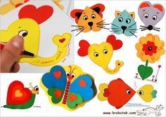 What a variety of animals and flowers you can make from just three different-sized hearts! You don't need any special drawing skills :) Just cut out some colored hearts and glue them on a piece of paper as shown. Finish your cards by tracing a dotted line around each heart to give your work a more accomplished look.
