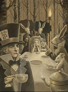 Alice In Wonderland:  The #Mad #Hatter's Tea Party, Illustration by David Delamare.