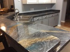 Resurfaced Old Laminate Countertops With Epoxy And