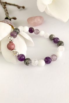 6MM Matte Charoite Bracelet Insomnia Stone Unconditional Love Acceptance Transformation Crystal Emotional Healing Mala Calming