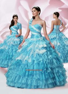 Mixed Color Prom Online Debutante Sweetheart Green Flowers Pearls Ruched Ball Gown Floor-Length One-Shoulder Quinceanera Dresses Puffy Dresses, Big Dresses, Prom Dresses Blue, Cheap Dresses, Gorgeous Wedding Dress, Beautiful Gowns, Cheap Quinceanera Dresses, Fiestas Party, Korean Dress