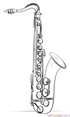 How to draw Saxophone step by step. Drawing tutorials for kids and beginners.