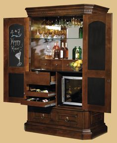 Nice Bar Cabinet For Modern Middle Room Design Ideas: Tall Bar Cabinet Decofurnish With Brown Wooden Floor And Small Window For Modern Family Room Ideas