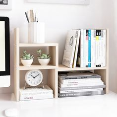 Wood Desktop Adjustable Organizer Storage Rack is part of Desk shelves - Brand Jerry & Maggie Color White Wood Tone Features Material of natural wood , definitely no pungent scent nontoxic green healthy life style sturdy board Composition of two Home Office Organization, Desktop Organization, Storage Organization, Top Of Dresser Organization, Stationary Organization, Storage Ideas, Organizing Ideas, Storage Solutions, Home Office Storage