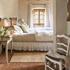 A cozy bedroom decorated with natural earth tones.