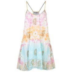 Juliet Dunn Sequined Tie Dye Dress (195.470 CLP) ❤ liked on Polyvore featuring dresses, beach dresses, golden dress, sequin dress, summer day dresses and tie dye beach dress