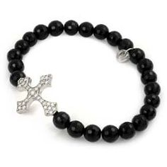 Black Onyx Maltese Cross Bracelet