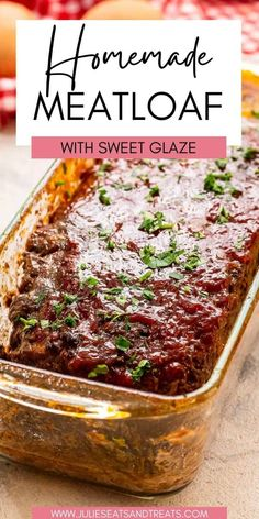 Meatloaf is a classic comfort food and this is going to be your new favorite recipe! Tender, juicy slices of meatloaf with a sweet and tangy ketchup glaze on top!