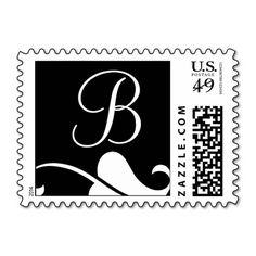 Black and White Monogram B Wedding Postage Stamp