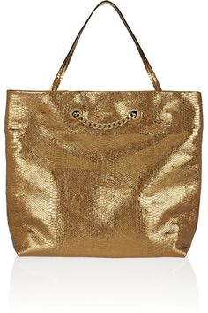 Lanvin|Carry Me metallic snake-embossed leather tote|NET-A-PORTER.COM