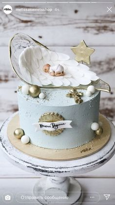 For Heaven's Cake: Irresistible Cakes for All Occasions - Cake Decorating Square Ideen Baby Birthday Cakes, Baby Boy Cakes, Cakes For Boys, Girl Cakes, Cake For Baby Girl, Cake For Mom, Elegant Birthday Cakes, Pretty Cakes, Beautiful Cakes
