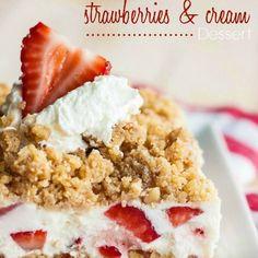 Frozen Strawberries and Cream Dessert Recipe Desserts with graham crackers, pecans, butter, flour, brown sugar, egg whites, sugar, heavy whipping cream, lemon, cream cheese, strawberries