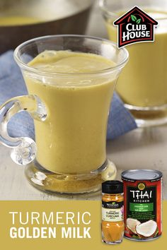 Transform coconut milk into a popular pick-me-up beverage: Golden Turmeric Milk. The combination of ingredients like turmeric, ground ginger, cinnamon and vanilla make for the perfect balance of sweet and spicy in this warm and comforting non-dairy drink. Yummy Drinks, Healthy Drinks, Healthy Snacks, Turmeric Milk, Vegetarian Recipes, Cooking Recipes, Good Food, Yummy Food, Smoothie Recipes