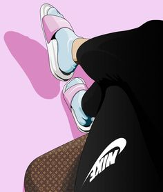 Sneakers Wallpaper, Shoes Wallpaper, Nike Wallpaper, Cute Wallpaper Backgrounds, Cute Wallpapers, Wallpaper Wallpapers, Iphone Wallpapers, Black Girl Cartoon, Black Girl Art